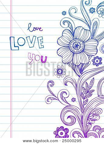 Hand-Drawn vector Flower and Swirls