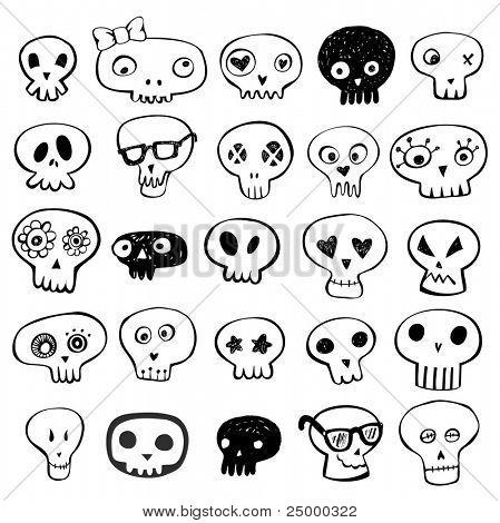 Garabatos de cráneos vector set