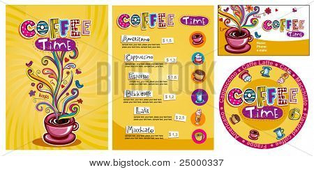 Template designs of menu and business card for cofee shop