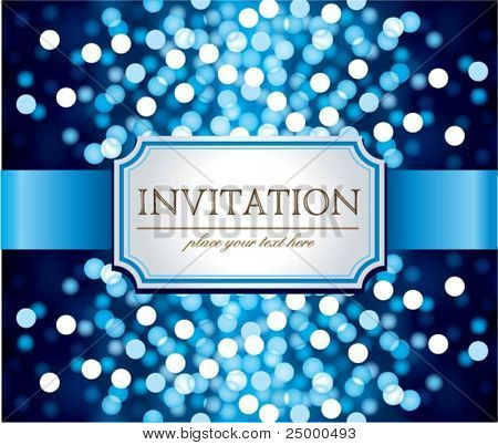 Amazing  invitation on blue glittering background