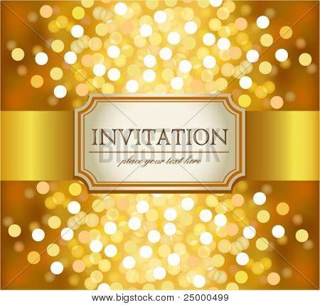 Sorprendente invitación de oro sobre fondo brillante