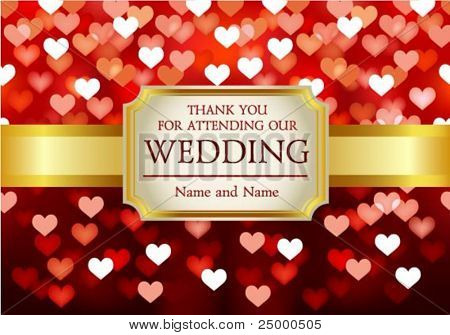 Amazing Wedding invitation on red glittering background in hearts
