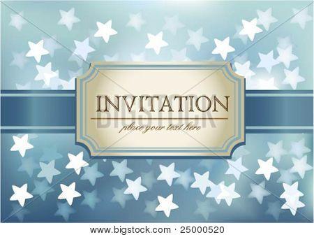 Invitación de Vector sobre fondo azul que brilla en los corazones