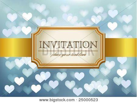 Invitación de la boda de Amazing sobre fondo azul que brilla en el corazón del vector