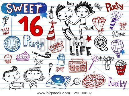 Sweet 16 Party, Gekritzel-Satz