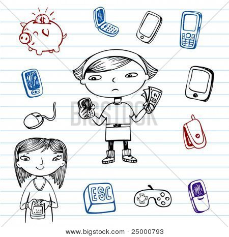 Mobile communication, Hipsters doodle set