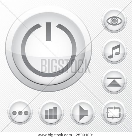 grey vector icons - technology