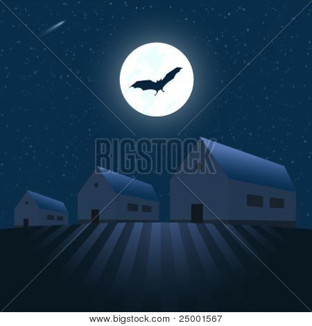 Houses under the stars - vector illustration