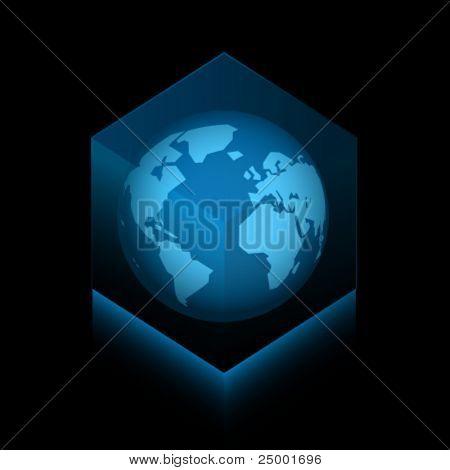 Planeta terra em um cubo de vetor