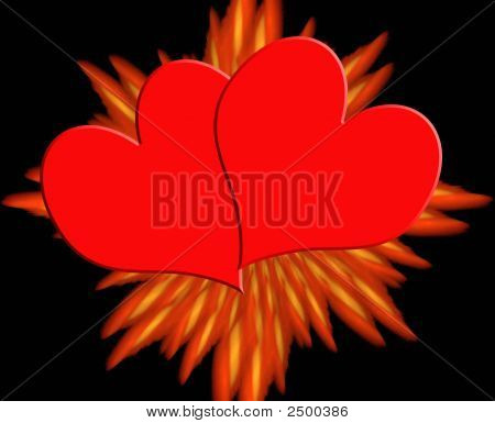 A Valentine Design With Two Hearts