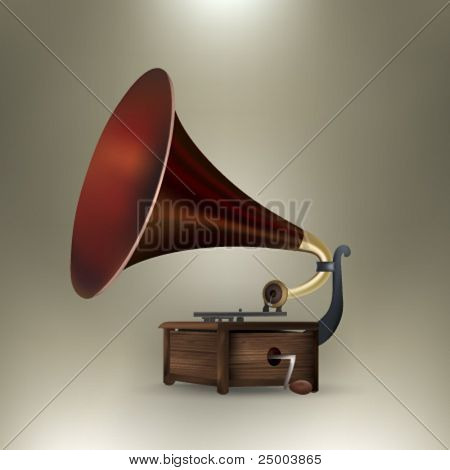 vector gramophone illustration