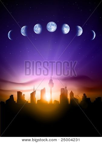Vector cityscape under the moon