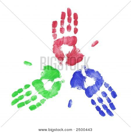 Red Blue And Green Handprint