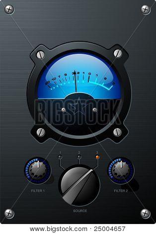 Medidor de volumen azul