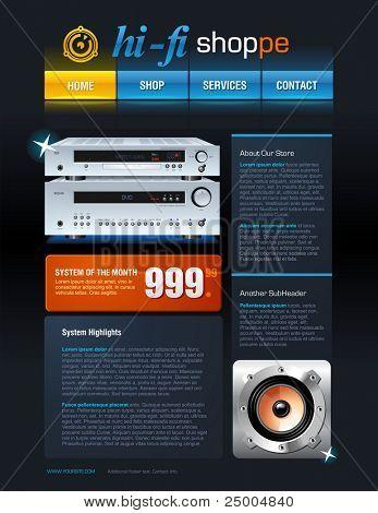 Hi-Fi Store-Broschüre oder Web-Vorlage