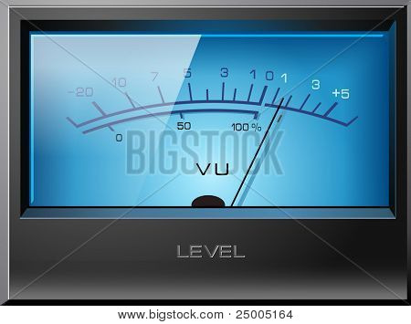Analog VU Meter Blue, detailed vector