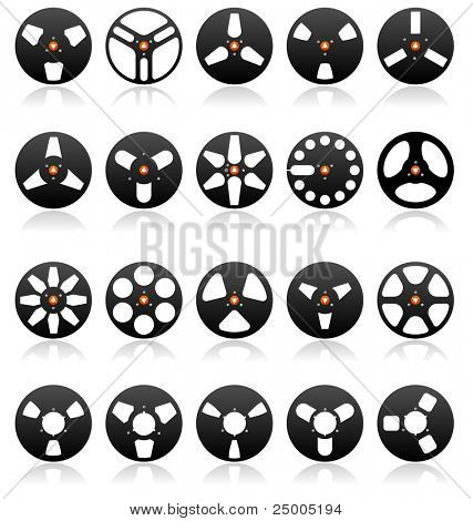 Analog Stereo Tape Reel Icon set, vector