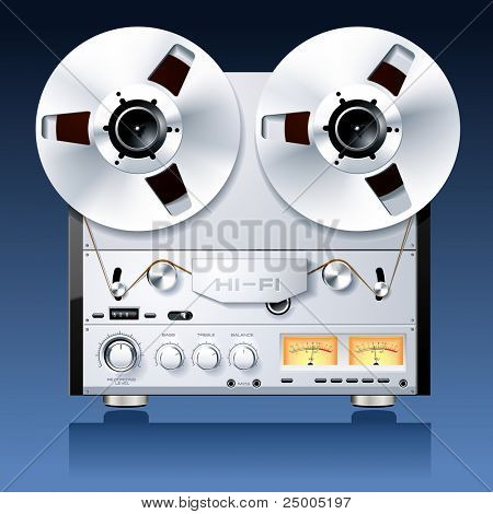 Vintage Hi-Fi analog stereo reel to reel tape deck player recorder vector