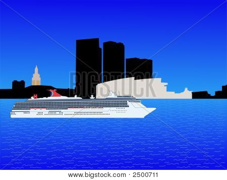 Cruise Ship In Miami
