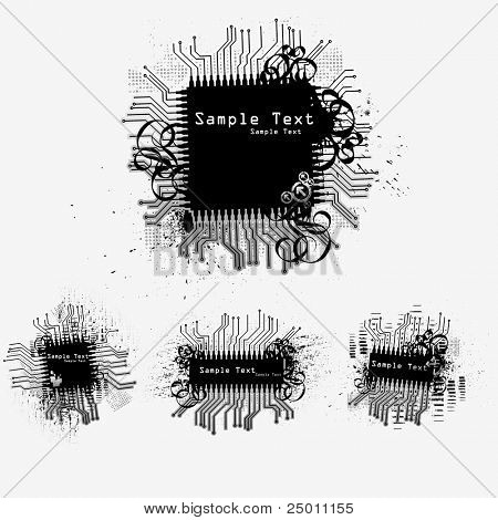 Collection of microchips. Vector.