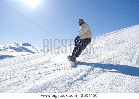 Snowboard na foto Stock de Sun