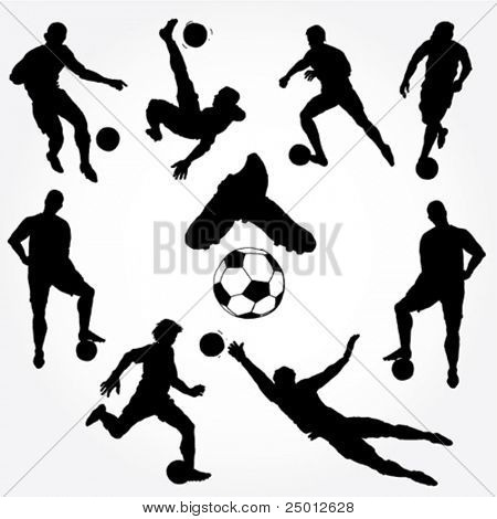 Hand Drawn Soccer Players Silhouette