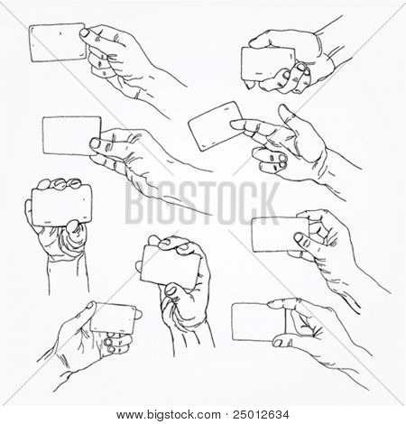 Hand Holding Banner Outline