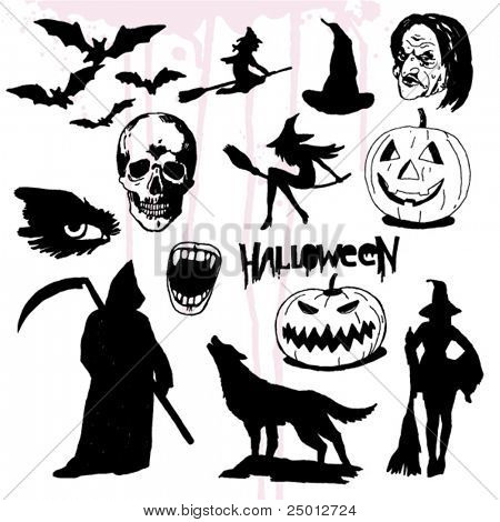 Some Hand Drawn Halloween Elements