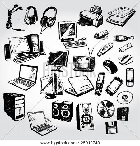 Muchos Doodled dispositivos