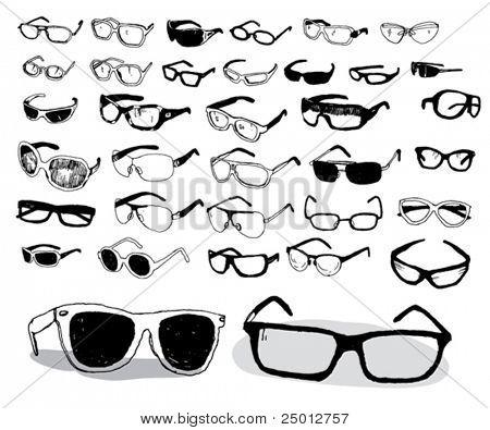 Set of Hand Drawn Glasses