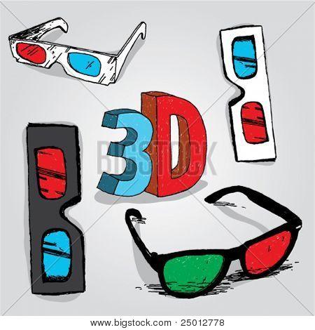 handgezeichnete 3D-Brille