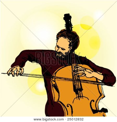 Hand Drawn Illustration of a Contrabass Player