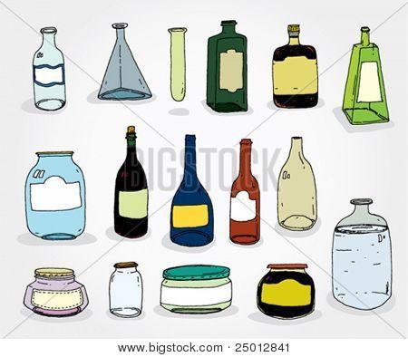 Set og Hand Drawn Cans and Bottles Colorful