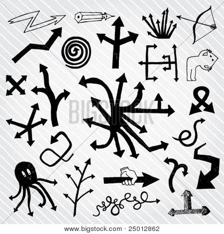 Set of Unusual Arrows Hand Drawn