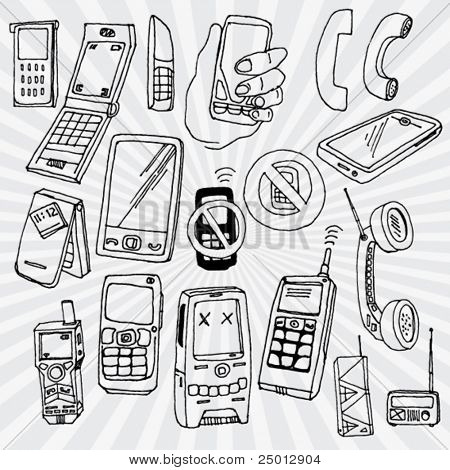 Doodled Mobile Phones and Other Devices Outline