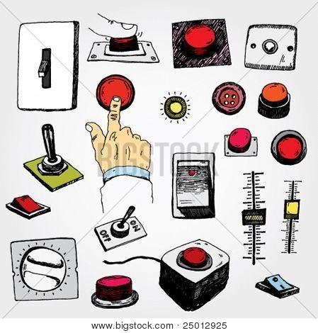 Kritzelte einige Buttons und Pins bunt