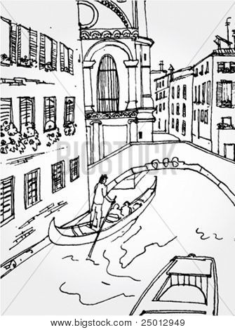 Hand Drawn Illustration of Venice Street