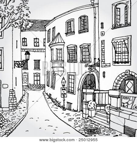 Hand Drawn ilustración de acogedor Europea Street