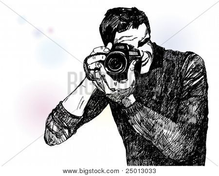 Hand Drawn Illustration of a Photographer