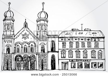Illustration of Cozy Street with Synagogue