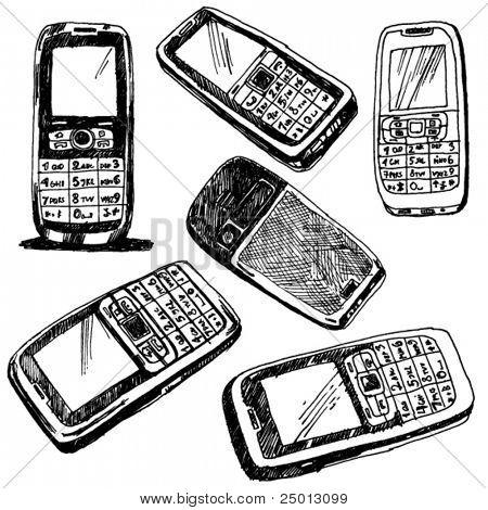 Apenas alguns tópicos de celulares Doodled