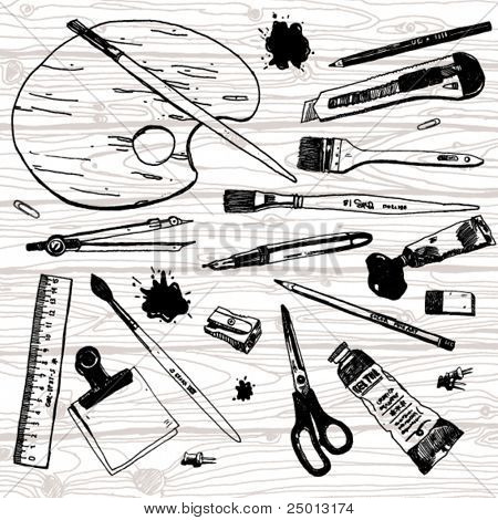 Set of Hand Drawn Artist's Stuff