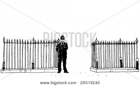 Background With a Policeman Hand Drawn