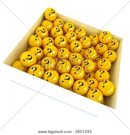 White Box Full Of Yellow Spheres With Question Marks