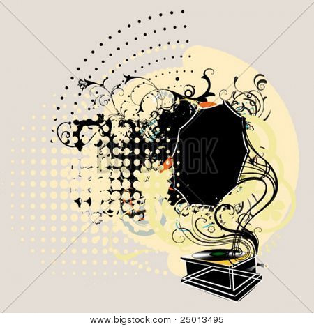 gramófono sobre fondo grunge