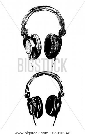two different handmade illustrations of a headphone-vector