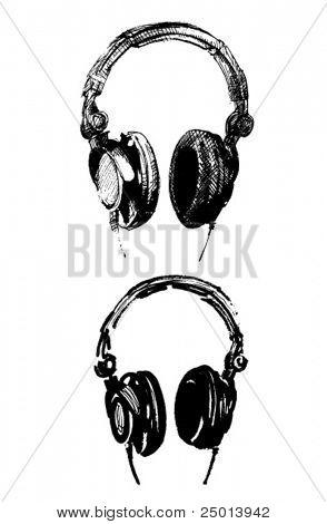 dos diferentes ilustraciones hechas a mano de un vector de auriculares