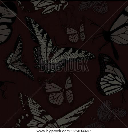 scary seamless pattern with butterflies
