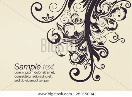 vector floral design element with space for text