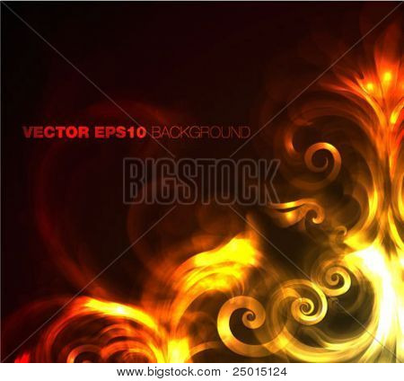 fire - flowers - vector illustration